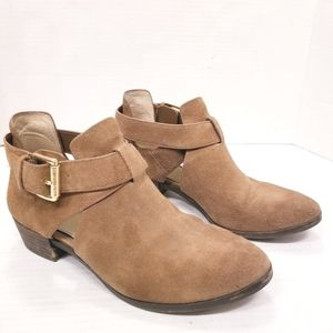 Michael Kors Suede Gold Buckle Ankle Boots
